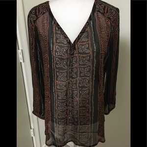 Lucky Brand Sheer Long Sleeve Top